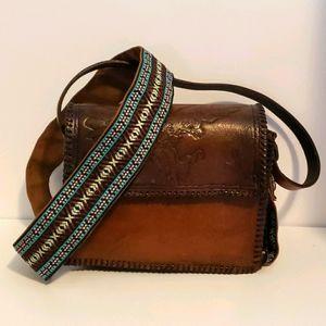 Handmade leather tooled eagle bag